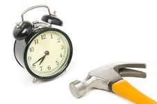 Free Alarm Clock And  Hammer Royalty Free Stock Photography - 6707087