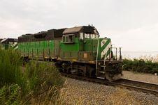 Free Green Train On Edge Of Sea Stock Photo - 6708070