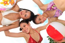 Asian Girls Have Fun Under The Sun Stock Photography