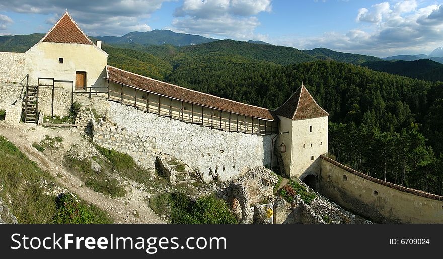 Rasnov fortress walls in Romania