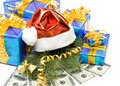 Free Santa S Red Hat, Gift Boxes And Money Stock Photography - 6719602