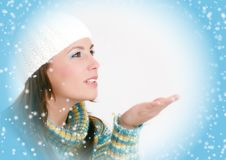 Free Winter Girl Blowing Snowflakes Royalty Free Stock Images - 6710259
