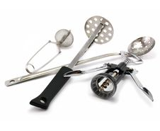 Free Two Perforated Spoons, Tea Strainer And Corkscrew Stock Photos - 6710533