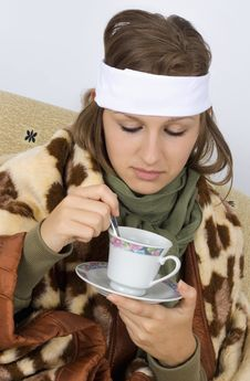 Very Sick Young Woman Stock Photo