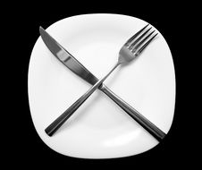 Free Fork And Knife On Plate. Stock Photo - 6711180