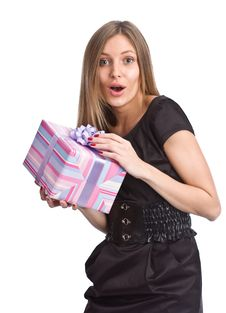 Free Beautiful Girl With Gift Box Stock Photography - 6711242