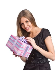 Free Beautiful Girl With Gift Box Stock Photos - 6711283