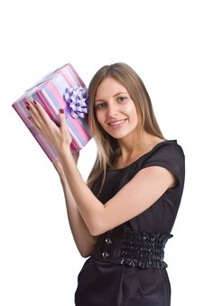 Free Beautiful Girl With Gift Box Stock Images - 6711424