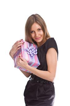 Free Beautiful Girl With Gift Box Stock Image - 6711571