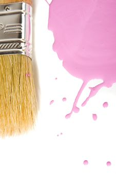 Free Paintbrush And Pink Paint Stock Photography - 6711662