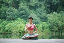 Free Young Chinese Woman Practicing Yoga Outdoor Royalty Free Stock Photo - 6712095