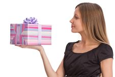 Free Beautiful Girl With Gift Box Royalty Free Stock Photography - 6712217
