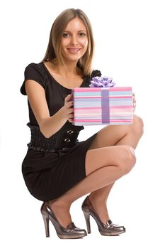 Free Beautiful Girl With Gift Box Stock Photography - 6712392