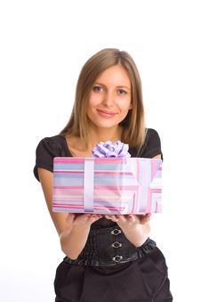 Free Beautiful Girl With Gift Box Royalty Free Stock Images - 6712409