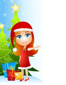 Free Little Girl Christmas Helper Royalty Free Stock Photos - 6712458
