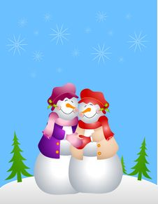 Lesbian Snow Woman Couple Stock Photography