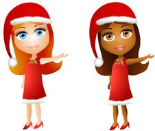 Free Cartoon Xmas Doll Girls Stock Photos - 6712753