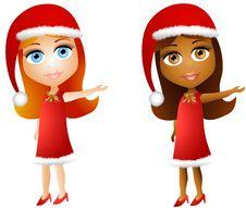 Free Cartoon Xmas Doll Girls Stock Photos - 6712753