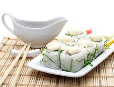 Free Japanese Cuisine - Rolls With Sauce And Greens Royalty Free Stock Photos - 6713628