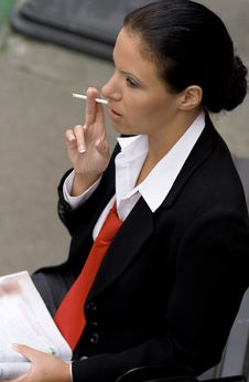 Free Businesswoman With Cigarette Royalty Free Stock Image - 6713746