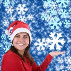 Free Christmas Background Illustration With Santa Woman Stock Image - 6713751