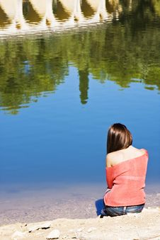 Free Thoughtful Woman In Lake Shore Royalty Free Stock Image - 6715096