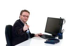 Free Businessman On Desk Royalty Free Stock Photos - 6715588