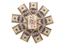 Free The Queen Of Spades And Dollars. Stock Photography - 6719022