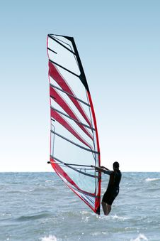 Free Silhouette Of A Windsurfer Stock Image - 6719041