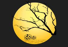 Free Yellow Moon Halloween Night Background Stock Images - 6719984