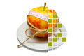 Free Collage Of Apple Surrounding Of Measuring Tape Tied With Twine W Stock Photo - 67132940