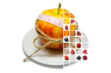 Collage Of Apple Surrounding Of Measuring Tape Tied With Twine A Stock Photography