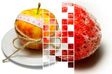 Free Collage Of Apple Surrounding Of Measuring Tape Tied With Twine A Stock Photography - 67132902