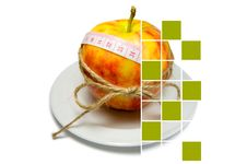 Collage Of Apple Surrounding Of Measuring Tape Tied With Twine W Stock Photo