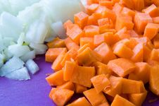 Free Carrot And Onion Diced Closeup Stock Image - 67133041