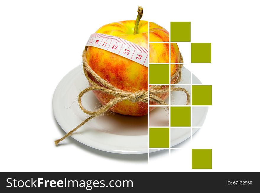 Collage of apple surrounding of measuring tape tied with twine w