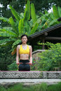 Free Young Chinese Woman Practicing Yoga Outdoor Stock Images - 6729714