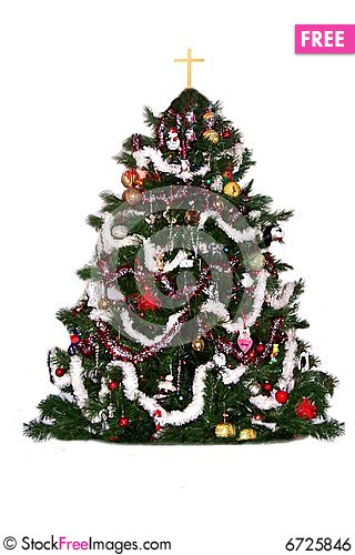 Free Christmas Tree With Cross Royalty Free Stock Image - 6725846