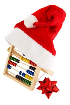 Christmas Cap With Adding Machine Royalty Free Stock Photo