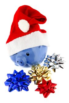 Christmas Cap With Piggy Bank Royalty Free Stock Photos