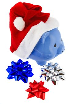 Christmas Cap With Piggy Bank Stock Photo