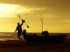 Free Fishermen And Sunset Stock Photo - 6722590