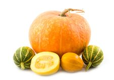 Decorative Green And Orange Pumpkins Stock Image