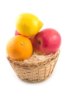 Free Fruit In Yellow Basket Royalty Free Stock Photos - 6724058
