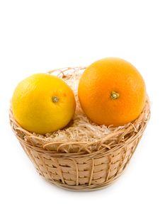 Free Lemon In Basket On White Background Royalty Free Stock Images - 6724069