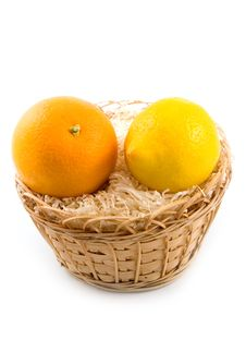 Free Lemon In Basket Together With Orange Royalty Free Stock Photos - 6724078