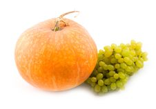 Free Pumpkin And Green Sweet Tasty Grapes Royalty Free Stock Photo - 6724095