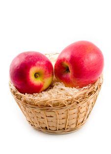 Ripe Apples In Basket Stock Photo