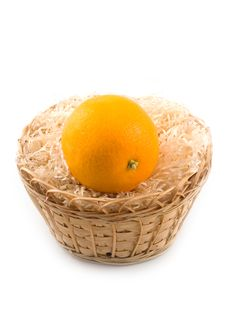 Free Useful Fruit Orange In Yellow Basket Stock Image - 6724251
