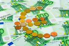 Euro Coins And Banknotes Stock Photo